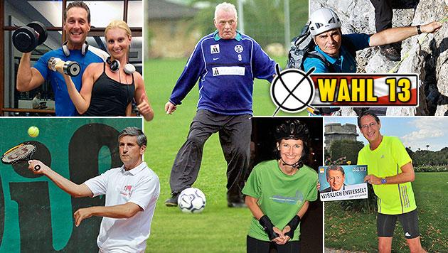 So sportlich sind Faymann, Spindelegger und Co. (Bild: Clemens Groh, GEPA, zVg, krone.at-Grafik)