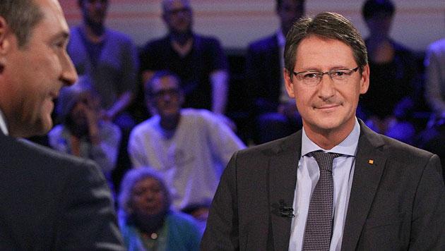 Schmuse-Talk zwischen Strache und Bucher (Bild: ORF)