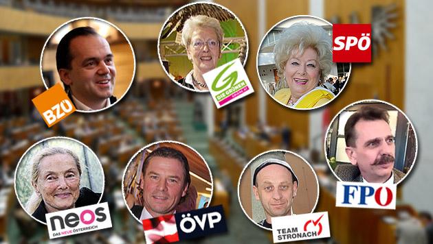 Wem Österreichs Prominente ihre Stimme geben (Bild: APA, KOLLER, TOMSCHI, HOLL, PAIL, BARTEL,Privat, krone.at-Grafik)