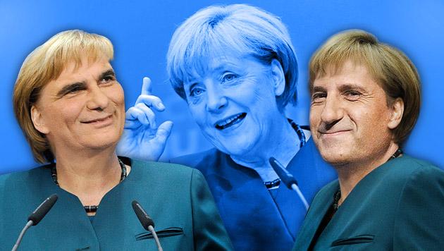 So viel Merkel steckt in Faymann und Spindelegger (Bild: APA/HERBERT PFARRHOFER, AP, krone.at-Grafik)
