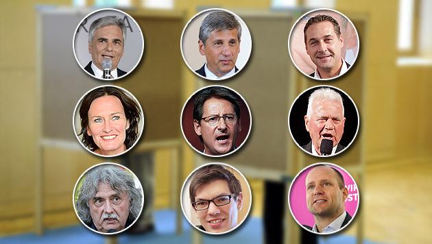 Spitzenkandidaten gehen Wahltag entspannt an (Bild: APA, krone.at-Grafik)
