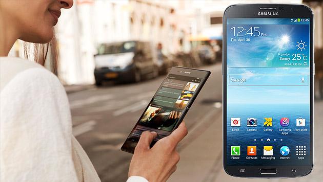 So (un)praktisch sind Riesen-Smartphones im Alltag (Bild: Sony, Samsung)