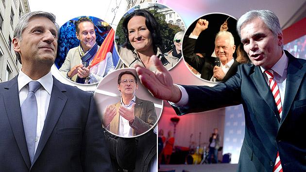 Faymann, Spindelegger und Co. im Wahlkampf-Finish (Bild: APA/Hochmuth, Jaeger, Pfarrhofer, Schlager, Oczeret)