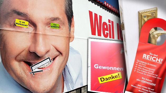Miese Tricks auf den letzten Wahlkampf-Metern (Bild: Klemens Groh, APA/SPÖ, krone.at-Grafik)