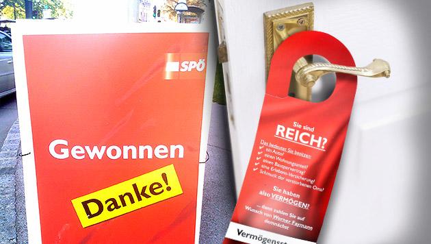 """""""Dirty Campaigning""""-Anzeige der SPÖ Burgenland (Bild: Klemens Groh, APA/SPÖ, krone.at-Grafik)"""