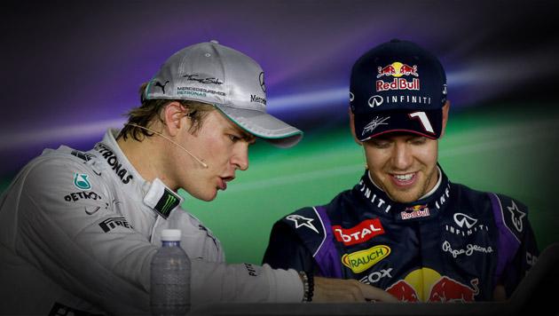 Nico Rosberg schimpft gegen Landsmann Vettel (Bild: EPA, krone.at-Grafik)