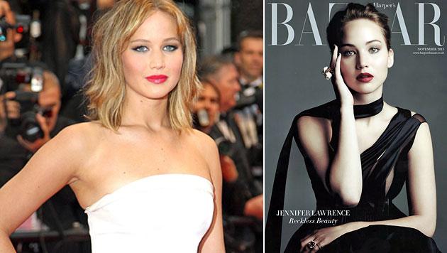 """Lawrence einst als zu fett für Filmbiz beschimpft (Bild: EPA, Harper""""s Bazaar)"""
