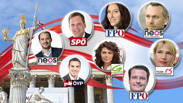 Die neuen Gesichter im österreichischen Parlament (Bild: APA/HELMUT FOHRINGER/HANS KLAUS TECHT, SP, VP, NEOS, GRÜNE, FP)