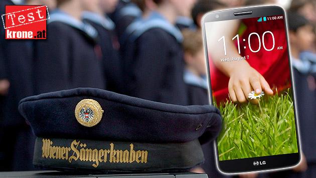"""LG G2 im Test: Das kann das """"Sängerknaben-Handy"""" (Bild: LG, APA/BARBARA GINDL, krone.at-Grafik)"""