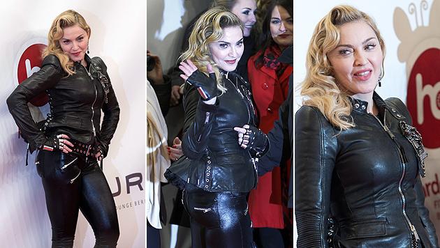 Madonna: Fitnessclub-Eröffnung in sexy Lederkluft (Bild: EPA)