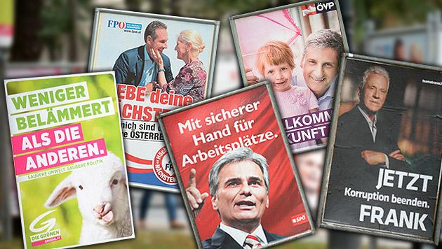 Stronach gab am meisten Geld für Wahlkampf aus (Bild: APA/ROLAND SCHLAGER, krone.at-Grafik)