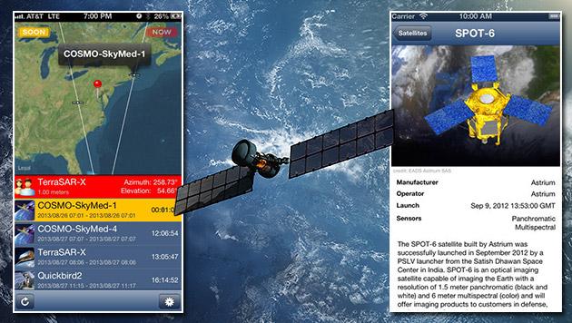 App zeigt: Diese Spionage-Satelliten sind über uns (Bild: iTunes App Store, thinkstockphotos.de, krone.at-Grafik)