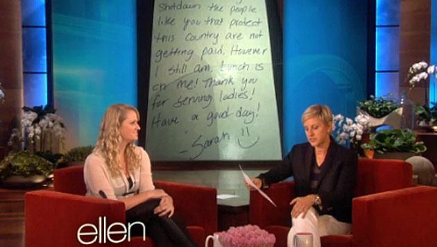 Ellen DeGeneres gibt Kellnerin 10.000 $ Trinkgeld (Bild: ellentv.com)