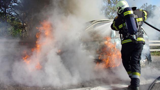Erneut Fahrzeug auf der A2 in NÖ ausgebrannt (Bild: APA/PRESSETEAM FF WR. NEUSTADT)