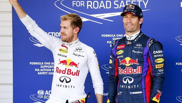 Oldie Webber streut Weltmeister Vettel Rosen (Bild: EPA)