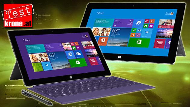 Microsofts zweite Surface-Generation am Prüfstand (Bild: Microsoft, thinkstockphotos.de, krone.at-Grafik)