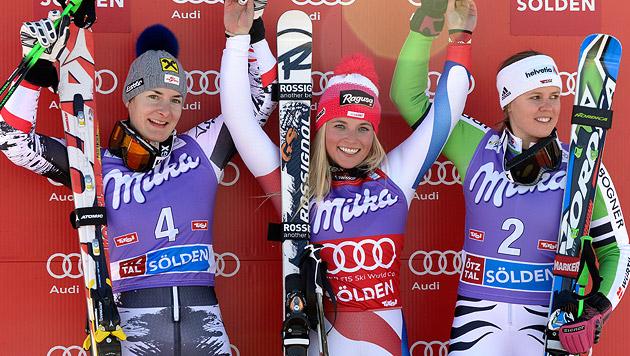 Schweizerin Lara Gut gewinnt vor Kathrin Zettel (Bild: APA/HANS KLAUS TECHT)