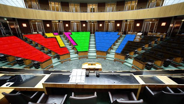 So sieht der neue Nationalrat aus (Bild: APA/GEORG HOCHMUTH, krone.at-Grafik)