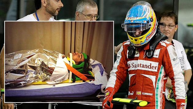 Alonso musste nach Abu-Dhabi-GP ins Spital (Bild: AP, twitter.com, krone.at-Grafik)