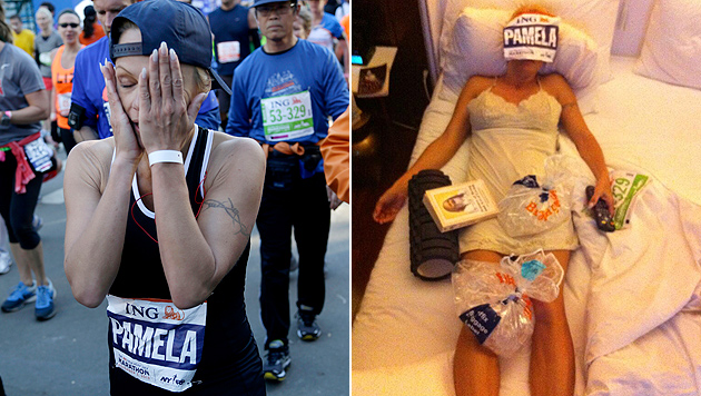 """Pamela Anderson nach New-York-Marathon: """"Autsch!"""" (Bild: AP, Twitter)"""