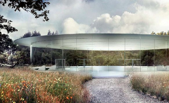 """Apple zeigt das Innere seines """"Raumschiffs"""" (Bild: Auch der Pavilion ist von einer Glasfront umgeben)"""