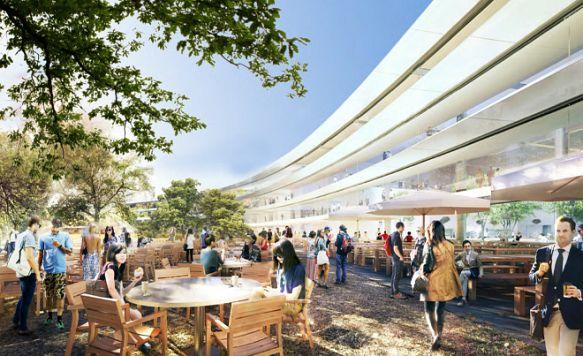 """Apple zeigt das Innere seines """"Raumschiffs"""" (Bild: Auch im Innenhof des """"Mutterschiffs"""" soll es grün sein)"""