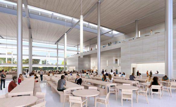 """Apple zeigt das Innere seines """"Raumschiffs"""" (Bild: Essen in entspannter Atmosphäre: die Cafeteria)"""