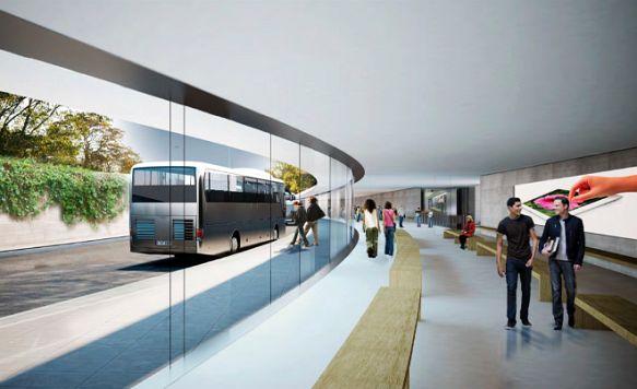 """Apple zeigt das Innere seines """"Raumschiffs"""" (Bild: Blick vom Transit-Center auf die ankommenden Busse)"""