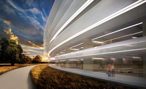 """Apple zeigt das Innere seines """"Raumschiffs"""" (Bild: Blick auf den von Stararchitekt Norman Foster entworfenen Campus)"""
