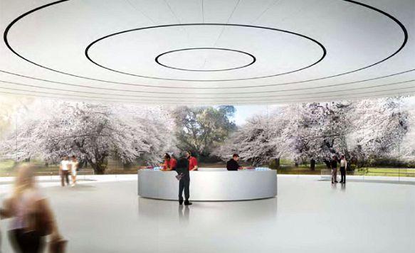 """Apple zeigt das Innere seines """"Raumschiffs"""" (Bild: Unter dem Pavilion bietet ein Auditorium Platz für 1.000 Gäste)"""