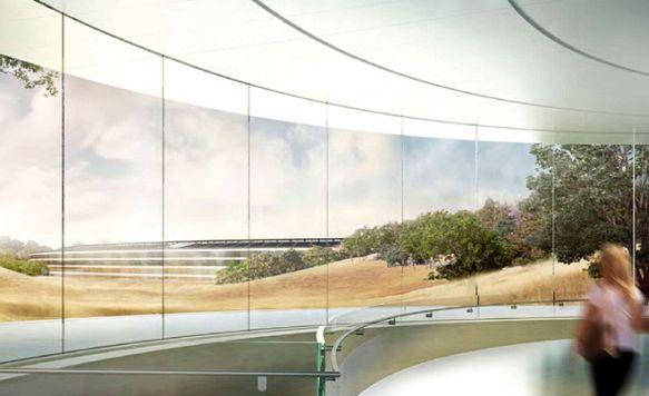 """Apple zeigt das Innere seines """"Raumschiffs"""" (Bild: Blick vom Pavilion auf das Hauptquartier)"""