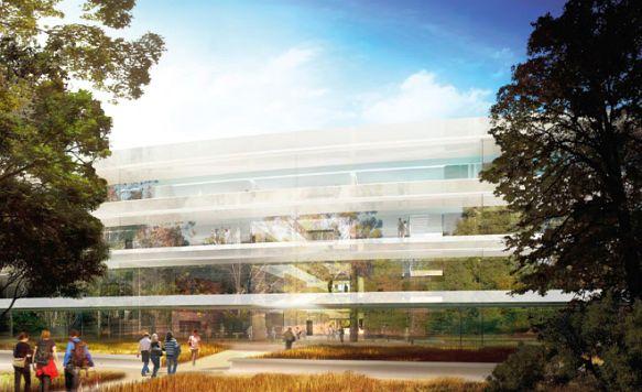 """Apple zeigt das Innere seines """"Raumschiffs"""" (Bild: Die gekrümmte Glas-Außenfassade des Campus 2)"""