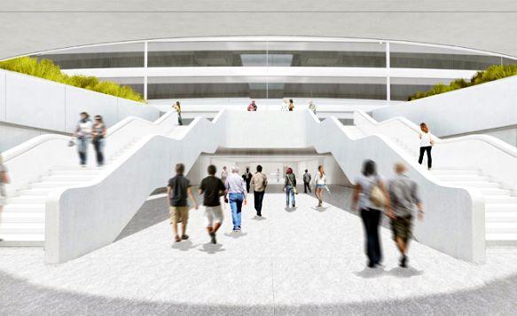 """Apple zeigt das Innere seines """"Raumschiffs"""" (Bild: Ankunft für Buspendler im Transit-Center)"""