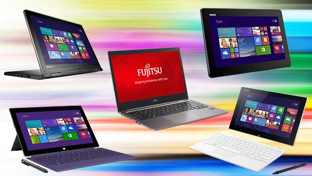 Microsoft zeigte neue Vielfalt der Windows-Geräte (Bild: Asus, Fujitsu, Microsoft, Sony, Lenovo, krone.at-Grafik)