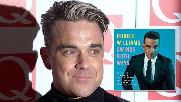 Robbie Williams ist endlich wieder beschwingt (Bild: AFP, Universal Music, krone.at-Grafik)
