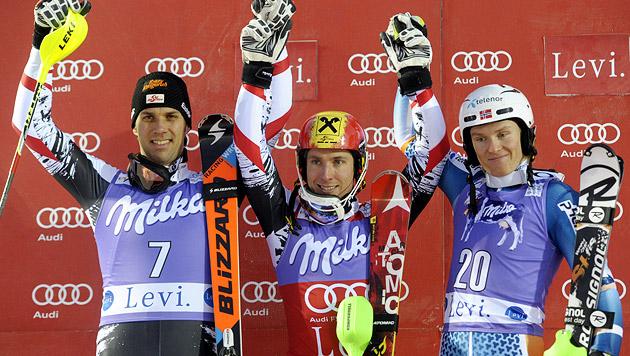 Hirscher triumphiert im Slalom vor Matt (Bild: AP)