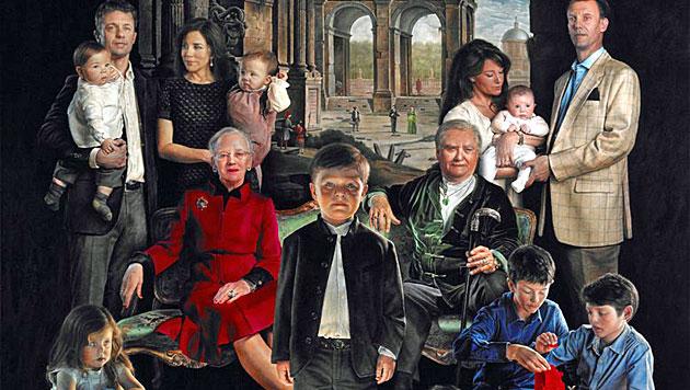 Dänische Royals ernten Spott für neues Gemälde (Bild: Thomas Kluge/Facebook)