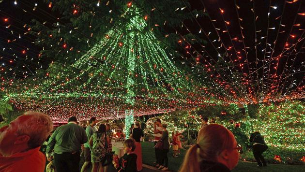 Familie in Australien feiert mit 502.165 Lichtern (Bild: AP)