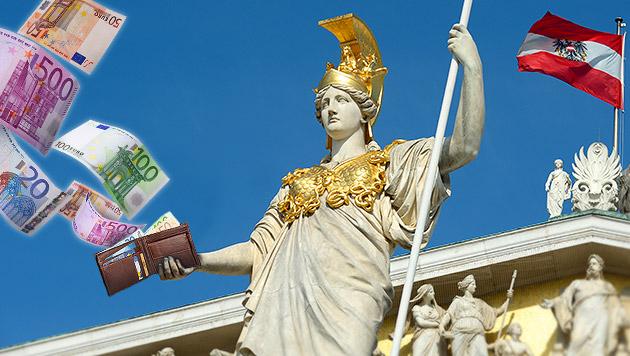 Prozesslawine um Kürzungen der Luxuspensionen (Bild: APA/ROLAND SCHLAGER, thinkstockphotos.de, krone.at-Grafik)