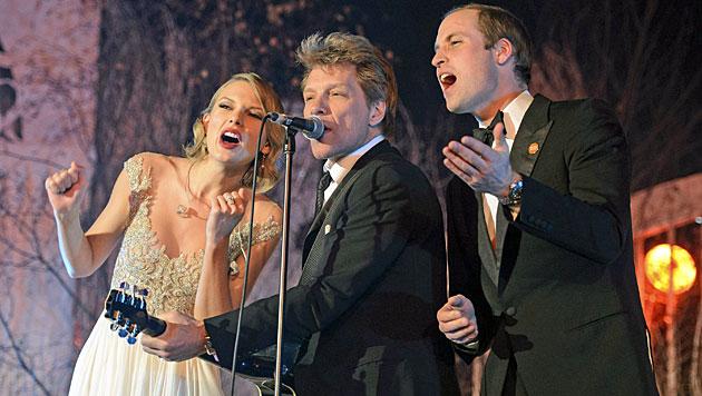 Prinz William rockt mit Bon Jovi und Taylor Swift (Bild: AP)