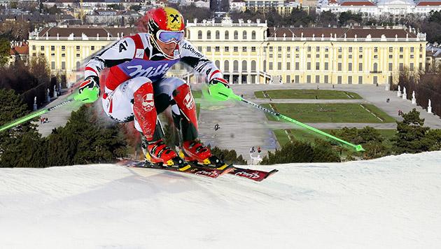 Ski-Spektakel in Schönbrunn bleibt vorerst Traum (Bild: APA/HERBERT PFARRHOFER, EPA, krone.at-Grafik)