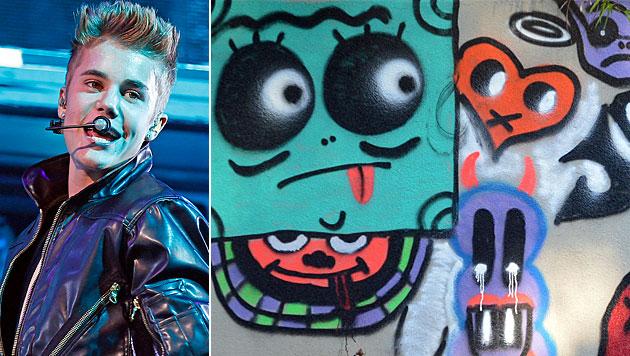 Wirbel um Graffiti von Bieber an Hotelmauer (Bild: AP)