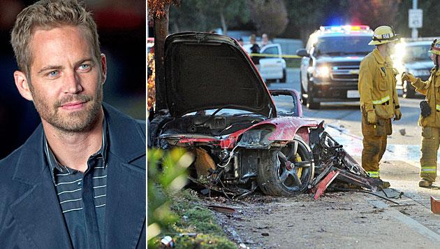 Paul Walker (l.) und der Unfallwagen (Bild: AP)