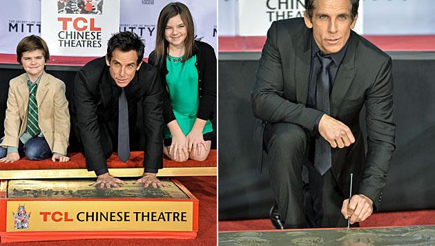 Ben Stiller verewigte Hände und Füße in Zement (Bild: AP)