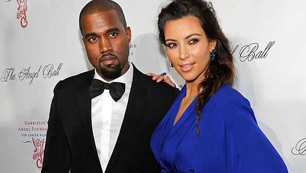 Kim K und Kanye West: Hochzeit im Weltall? (Bild: AP)