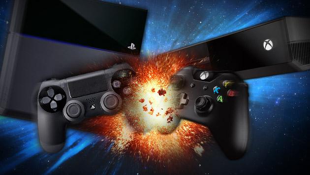 PS4 vs. Xbox One: Sony sieht sich schon als Sieger (Bild: Sony, Microsoft, thinkstockphotos.de, krone.at-Grafik)