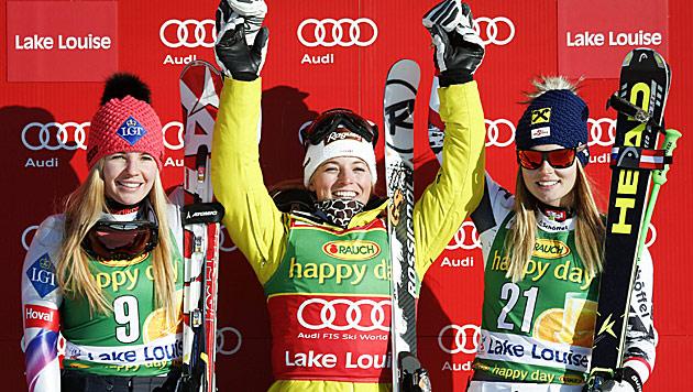 Gut gewinnt vor Weirather, Fenninger und Görgl (Bild: AP)