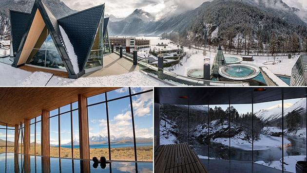 Luxuriöse Wellness-Resorts aus aller Welt (Bild: AQUA DOME, Tierra Patagonia, River Sauna)