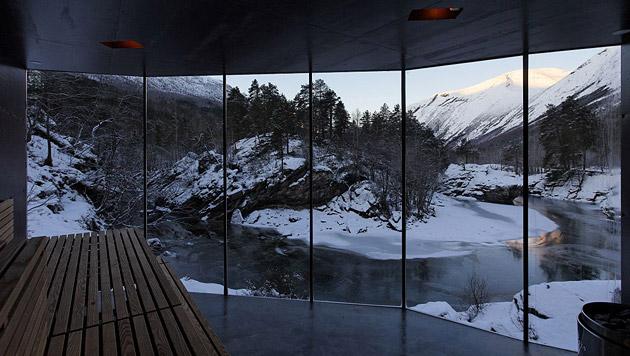 Luxuriöse Wellness-Resorts aus aller Welt (Bild: River Sauna, Jensen & Skodvin)
