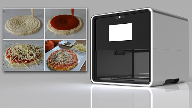 """Foodini"": Pizza und Ravioli aus dem 3D-Drucker (Bild: Facebook/Natural Machines, krone.at-Grafik)"